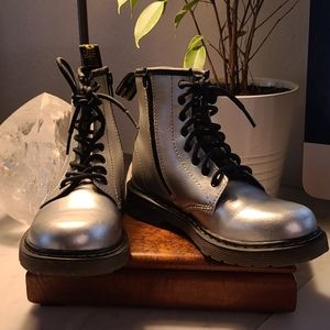 Dr. MARTENS silver boots